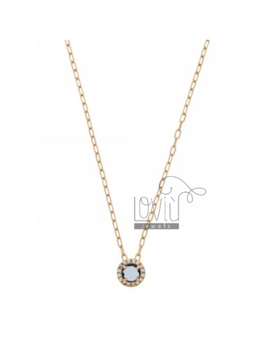 CHAIN &8203&8203CABLE 45 CM WITH ROUND PENDANT WITH BLUE STONE HYDROTHERMAL trsparente 1 AND BORDER zirconate AG IN ROSE GOL