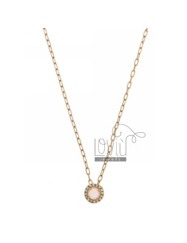 CHAIN &8203&8203CABLE 45 CM WITH ROUND PENDANT WITH STONE ROSE 11 HYDROTHERMAL AND BORDER zirconate AG IN ROSE GOLD PLATED