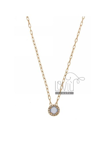 CHAIN &8203&8203CABLE 45 CM WITH ROUND PENDANT WITH STONE HYDROTHERMAL SUGAR PAPER AND BOARD 28 zirconate AG IN ROSE GOLD PL