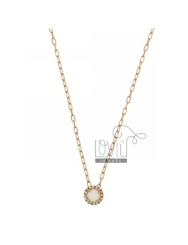CHAIN &8203&8203CABLE 45 CM WITH ROUND PENDANT WITH STONE WHITE HYDROTHERMAL 33 EDGE zirconate IN ROSE GOLD PLATED AG