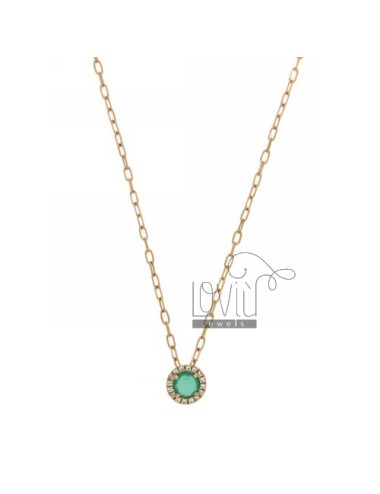 CHAIN &8203&8203CABLE 45 CM WITH ROUND PENDANT WITH STONE HYDROTHERMAL 40 EMERALD AND BORDER zirconate AG IN ROSE GOLD PLATE
