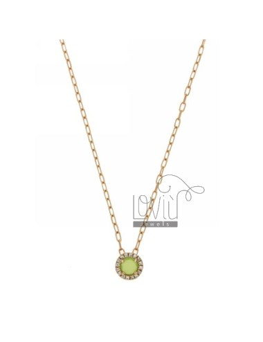 CHAIN &8203&8203CABLE 45 CM WITH ROUND PENDANT WITH STONE HYDROTHERMAL GREEN GRASS AND 42 IN BORDER zirconate AG ROSE GOLD P