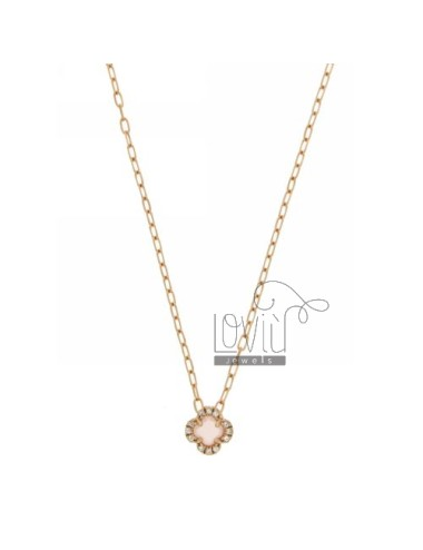 CHAIN &8203&8203CABLE 45 CM WITH PINK FLOWER WITH STONE HYDROTHERMAL 11 AND BORDER zirconate AG IN ROSE GOLD PLATED