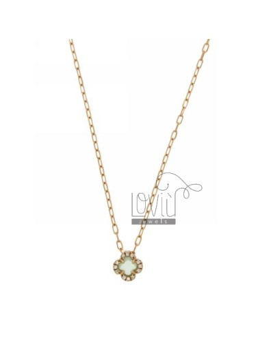 CHAIN &8203&8203CABLE 45 CM WITH FLOWER WITH GREEN STONE HYDROTHERMAL 20 TIFFANY AND BORDER zirconate AG IN ROSE GOLD PLATED