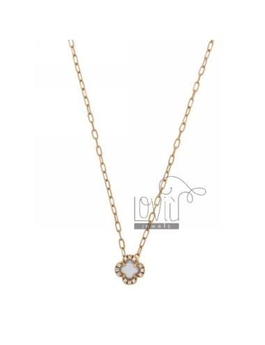 CHAIN &8203&8203CABLE 45 CM WITH FLOWER WITH STONE HYDROTHERMAL SUGAR PAPER AND BOARD 28 zirconate IN ROSE GOLD PLATED AG
