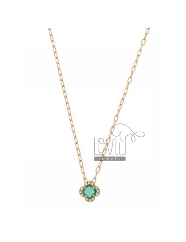 CHAIN &8203&8203CABLE 45 CM WITH FLOWER WITH HYDROTHERMAL STONE EMERALD AND 40 IN BORDER zirconate AG ROSE GOLD PLATED