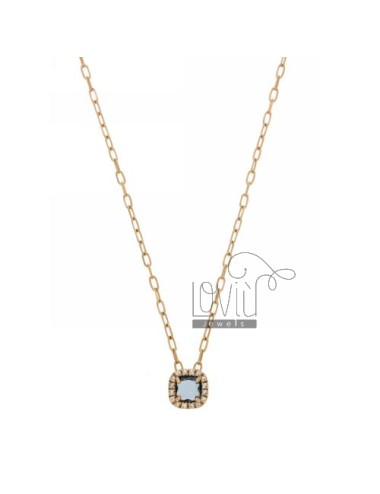 CABLE CHAIN &8203&8203NECKLACE WITH 45 CM SQUARE WITH TRANSPARENT BLUE STONE HYDROTHERMAL 1 AND BORDER zirconate AG IN ROSE