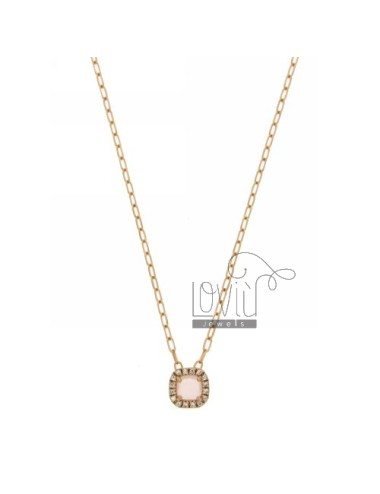 CABLE CHAIN &8203&8203NECKLACE WITH 45 CM SQUARE WITH STONE ROSE 11 HYDROTHERMAL AND BORDER zirconate AG IN ROSE GOLD PLATED