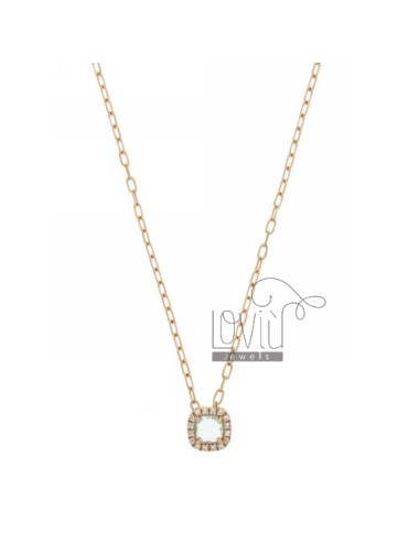 CABLE CHAIN &8203&8203NECKLACE WITH 45 CM SQUARE WITH BLUE STONE HYDROTHERMAL 2 AND BORDER zirconate AG IN ROSE GOLD PLATED