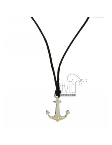 Pendant stir 20x16 MM STEEL WITH POINT Bilamina BRASS AND GOLD WITH LACE SILK CERATA