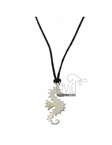 Pendant IPPOCAMPO STEEL 31x15 MM WITH POINT Bilamina BRASS AND GOLD WITH LACE SILK CERATA