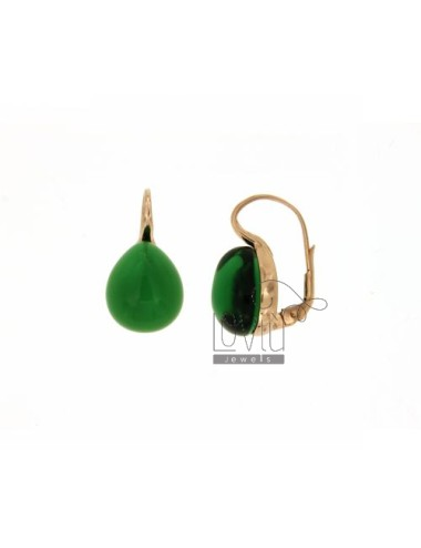 A nun EARRINGS WITH STONE DROP MM 1,40 X1, 20 BOTTLE GREEN 10 IN ROSE GOLD PLATED AG TIT 925 ‰