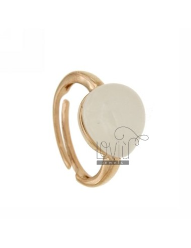 RING WITH DROP MM 1,4 X1, 2 8 IN WHITE ROSE GOLD PLATED AG TIT 925 SIZE ADJUSTABLE
