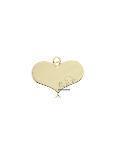 HEART PENDANT 15X22 MM LASER CUT IN SILVER 925 ‰ GOLD PLATED