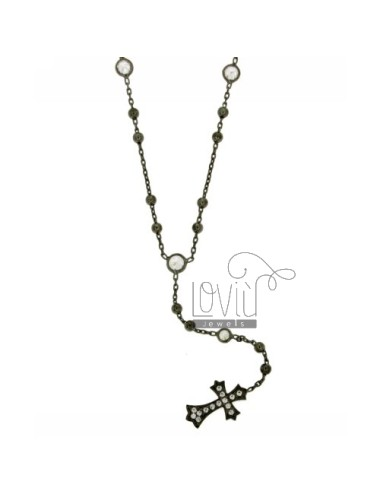 ROSARY NECKLACE SILVER PLATED 925 RUTENIO TIT WITH CROSS AND PARTITIONS IN ZIRCONIA WHITE