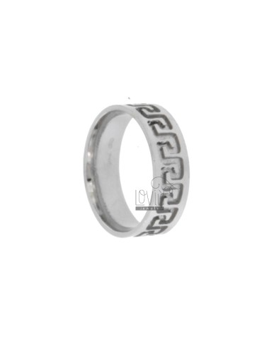 6.1 MM BAND RING RING WITH DIAMOND AND INTERNAL scratched REASON &quotGREEK&quot IN TITLE AG RHODIUM 925 18 MIS