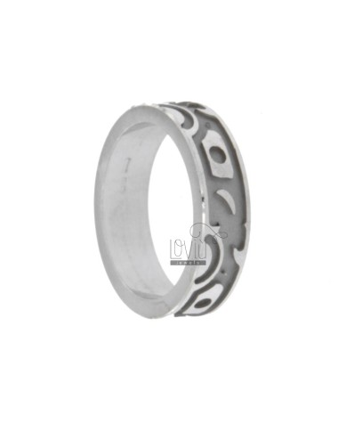 6.6 MM BAND RING RING WITH INTERNAL scratched REASONS IN SATIN ETHNIC RHODIUM TIT AG 925 30 MIS