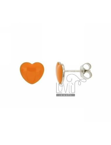 LOBO EARRINGS HEART MM 9x10 A PLATE WITH ORANGE GLAZE IN RHODIUM AG TIT 925