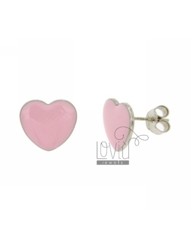 LOBO EARRINGS HEART 13x14 MM A PLATE WITH NAIL POLISH IN ROSA AG RHODIUM TIT 925