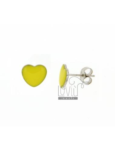 LOBO EARRINGS HEART MM 9x10 A PLATE WITH YELLOW ENAMEL RHODIUM AG TIT 925