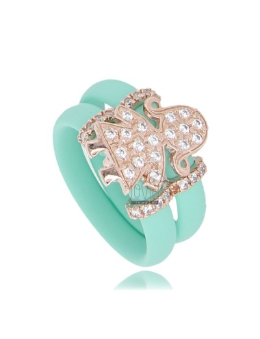 RUBBER RING IN &39GREEN WITH TIFFANY GIRL WITH PAVE&39 OF ZIRCONIA SILVER ROSE GOLD PLATED TIT 925