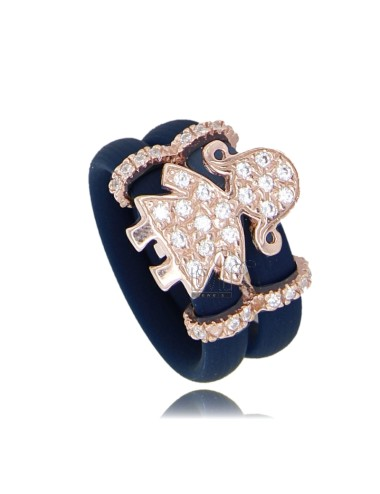 RUBBER RING IN &39WITH BLUE GIRL WITH PAVE&39 OF ZIRCONIA SILVER ROSE GOLD PLATED TIT 925
