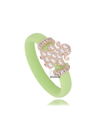 RUBBER RING IN &39GREEN LIGHT WITH GIRL WITH PAVE&39 OF ZIRCONIA SILVER ROSE GOLD PLATED TIT 925