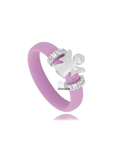 RUBBER RING &39PINK WITH ANGEL AND BRIDGES WITH PAVE SIDE&39 OF ZIRCONIA SILVER RHODIUM TIT 925