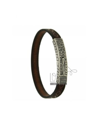 LEATHER BRACELET WITH PLATE WITH POPE JOHN XXIII SENTENCE, AND CLOSING ... WE ARE LOOKING FOR IN AG BRUNITO TIT 925
