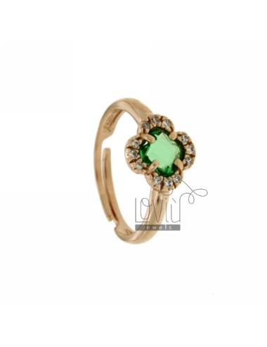 A FLOWER RING WITH STONE...