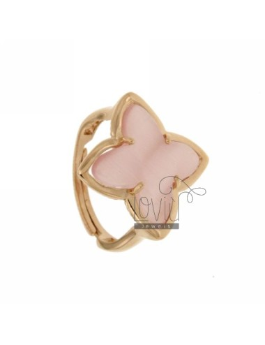 RING IN A FLOWER 4 POINTS WITH PINK PEARL STONE HYDROTHERMAL 11P AG IN ROSE GOLD PLATED ADJUSTABLE SIZE TIT 925 ‰