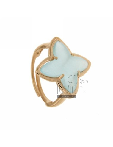 RING IN A FLOWER 4 POINTS WITH BLUE PEARL STONE HYDROTHERMAL 2P AG IN ROSE GOLD PLATED ADJUSTABLE SIZE TIT 925 ‰