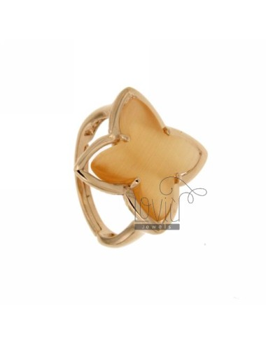 RING IN A FLOWER 4 POINTS WITH ORANGE PEARL STONE HYDROTHERMAL 6P AG IN ROSE GOLD PLATED ADJUSTABLE SIZE TIT 925 ‰