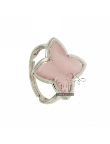 RING IN A FLOWER 4 POINTS WITH PINK PEARL STONE HYDROTHERMAL 11P AG IN SIZE ADJUSTABLE RHODIUM TIT 925 ‰