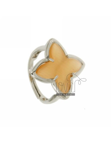 RING IN A FLOWER 4 POINTS WITH ORANGE PEARL STONE HYDROTHERMAL 6P AG IN SIZE ADJUSTABLE RHODIUM TIT 925 ‰