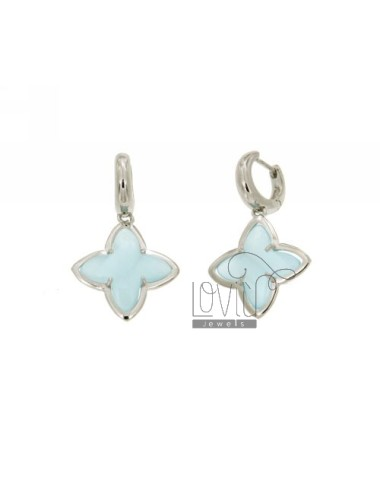 Snap BEAD EARRINGS WITH FLOWER FLOWER TO 4 POINTS WITH BLUE PEARL STONE HYDROTHERMAL 2P AG IN SIZE ADJUSTABLE RHODIUM TIT 925 ‰