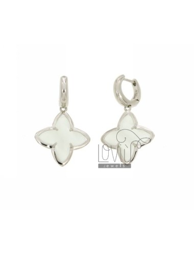 Snap BEAD EARRINGS WITH FLOWER FLOWER TO 4 POINTS WITH PEARL WHITE STONE HYDROTHERMAL 8P AG IN SIZE ADJUSTABLE RHODIUM TIT 925 ‰