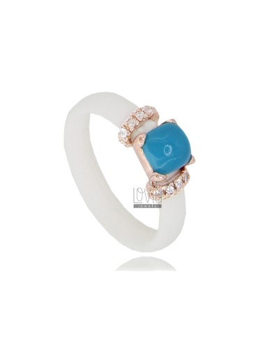 RING IN WHITE RUBBER WITH APPLICATION IN ROSE GOLD PLATED AG TIT 925 ‰ ZIRCONIA AND STONES HYDROTHERMAL ASSORTED COLORS