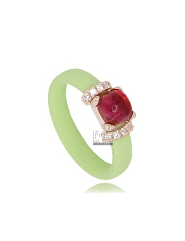 RUBBER RING IN GREEN PASTEL WITH APPLICATION IN ROSE GOLD PLATED AG TIT 925 ‰ ZIRCONIA AND STONES HYDROTHERMAL ASSORTED COLORS