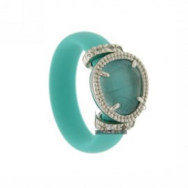 RUBBER RING IN &39GREEN TIFFANY WITH APPLICATIONS IN RHODIUM TIT AG 925, ZIRCONS HYDROTHERMAL VARIOUS COLORS AND STONES