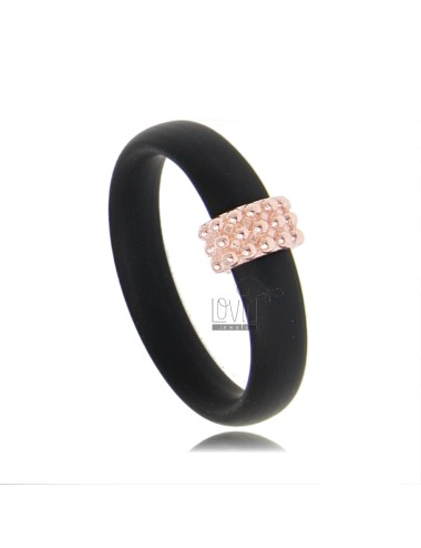 RUBBER RING IN &39BLACK WITH CENTRAL MICRO SPHERES IN ROSE GOLD PLATED AG TIT 925