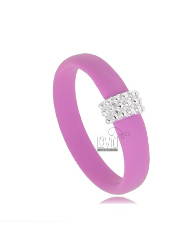 RUBBER RING &39PINK WITH CENTRAL MICRO SPHERES IN RHODIUM AG TIT 925