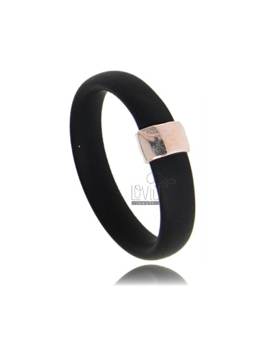 RUBBER RING IN &39BLACK WITH CENTRAL AG ROSE GOLD PLATED TIT 925