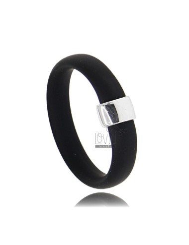 RUBBER RING IN &39BLACK WITH CENTRAL AG RHODIUM TIT 925