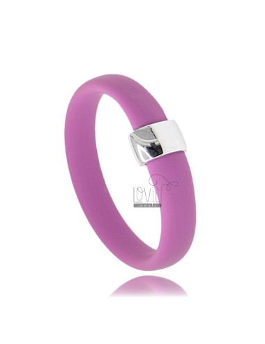 RUBBER RING &39PINK WITH CENTRAL AG RHODIUM TIT 925