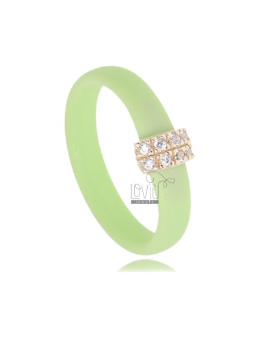 RUBBER RING IN &39GREEN PASTEL WITH CENTRAL AG PLATED ROSE GOLD PAVE&39 TIT FOR ZIRCONIA 925