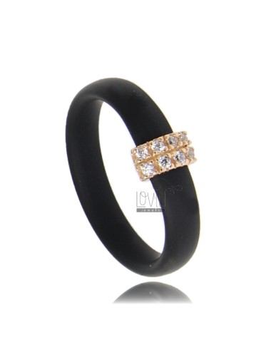 RUBBER RING IN &39BLACK WITH CENTRAL AG ROSE GOLD PLATED WITH PAVE&39 TIT FOR ZIRCONIA 925