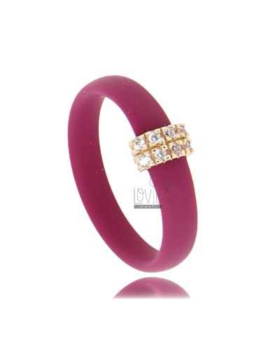 RUBBER RING &39MARC WITH CENTRAL AG PLATED ROSE GOLD PAVE&39 TIT FOR ZIRCONIA 925