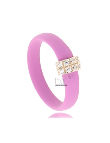 RUBBER RING &39PINK WITH CENTRAL AG PLATED ROSE GOLD PAVE&39 TIT FOR ZIRCONIA 925
