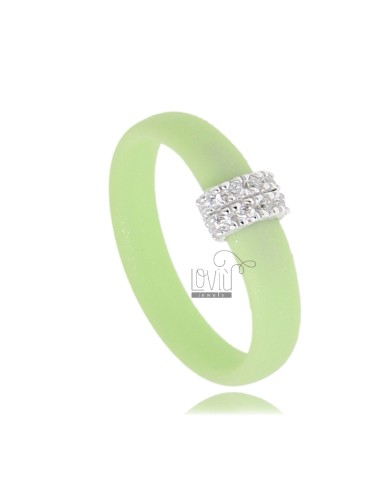 RUBBER RING IN &39GREEN PASTEL WITH CENTRAL AG WITH RHODIUM PAVE&39 TIT FOR ZIRCONIA 925